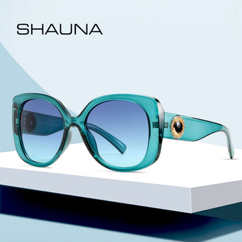 SHAUNA Oversized Women Crystal Sunglasses Fashion Round Gradient Shades UV400