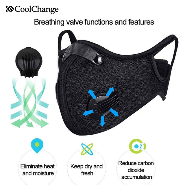 CoolChange Cycling Face Mask Filter Anit-fog Anit-pollution Breathable PM2.5 Activ Carbon Respirator Sports Bike Dust Mask 3
