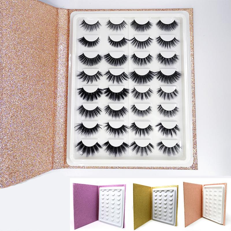 16 Pair Makeup Display Sample Catalog Travel Glitter Paper Container Gift Portable Eyelash Storage Book Cosmetic Packaging Care