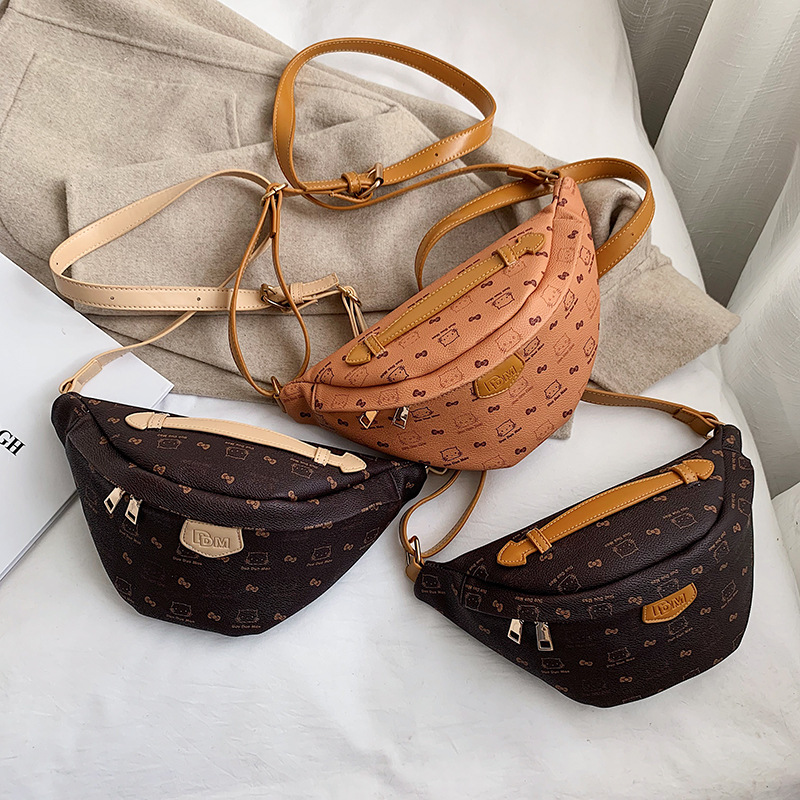 Luxury Brand Fanny Pack Women Waist Bag High Quality PU Leather Chest Belt Bag Ladies Crossbody Bags Cartoon Printing Waist Pack
