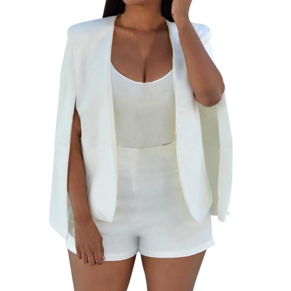 Hot Fashion Solid Color Women Split Cape Slim Fit Business Blazer Suit Jacket Coat