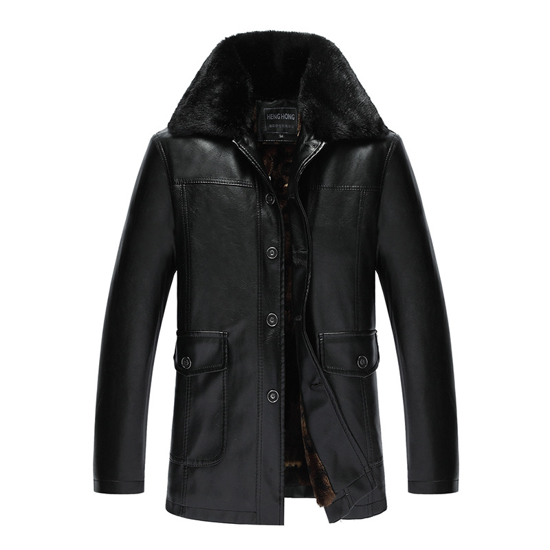 Autumn And Winter Casual Middle-aged Plus Velvet Fold-down Collar Mid-length Leather Coat Men PU Leather Thick Coat Jacket