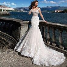 Женское свадебное платье с юбкой годе Adoly Mey, элегантное платье с глубоким круглым вырезом и длинным рукавом, роскошное платье невесты со шлейфом и аппликацией, 2020