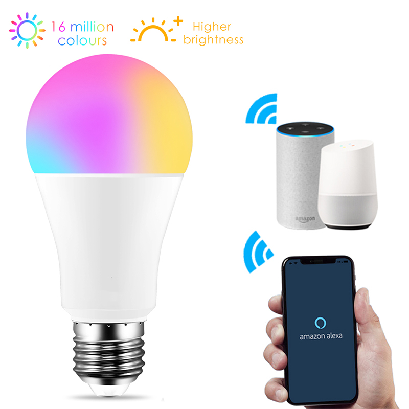 WiFi LED Bulb 12W Smart Light E27 220V 110V RGBW Color Changing Magic Lamp Wake-Up Lights Compatible With Alexa Google Assistant