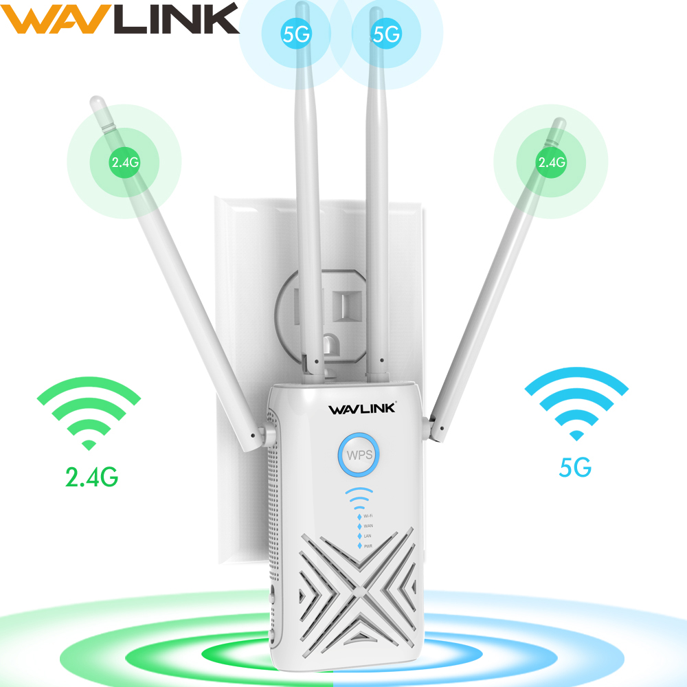 Wavlink Full Gigabit 1200Mbps Wifi Repeater Extender/Amplifier/Router/Access Point  Wireless Dual Band 2.4G/5G 4x5dBi Antennas