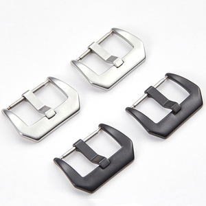Metal Watch Buckle 16MM 18mm 20mm 22mm 24mm 26mm Men Watchband Strap Silver Black Brushed 316L Stainless Steel Clasp Accessories