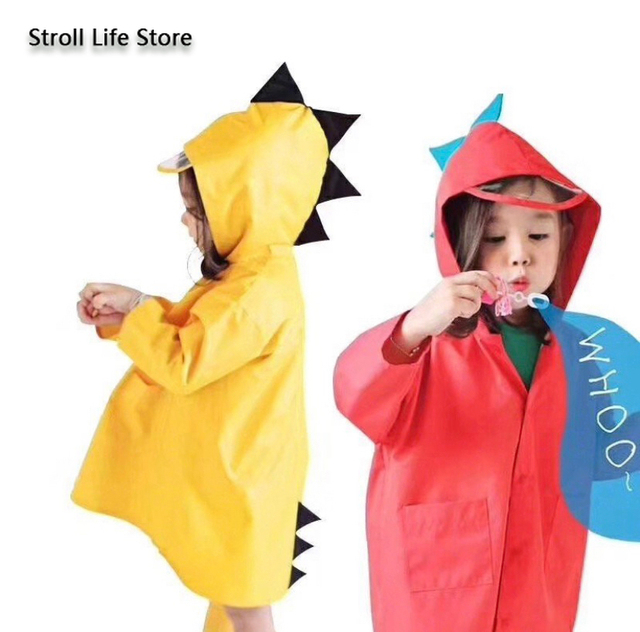 Creative Dinosaur Kids Raincoat Yellow Rain Jacket Poncho Rain Coat Children Red Windbreaker Waterproof Suit Capa De Chuva Gift