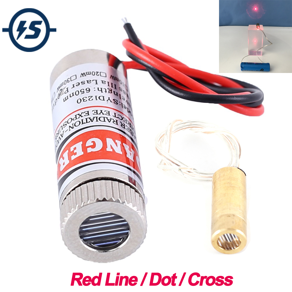 Adjustable Beam 650nm 5mW Red Line/Dot/Cross Laser Module Head Glass Lens Focusable Industrial Class 3-5V