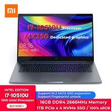 Orinigal Xiaomi Mi portátil Xiaomi portátil Pro 15,6 pulgadas Intel Core i7-10510U 16GB 1TB SSD MX350 100% sRGB de la PC de la computadora