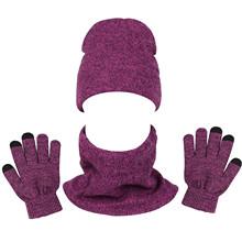 Unisex mężczyźni kobiety cieplej zestaw jesień zima dzianiny ciepłe aksamitne czapka typu Beanie szalik i rękawiczki Outdoor Running kolarstwo sport cieplej strój tanie tanio CN (pochodzenie) WOMEN Akrylowe Dla dorosłych Moda 10147560 Stałe Adult Women Men