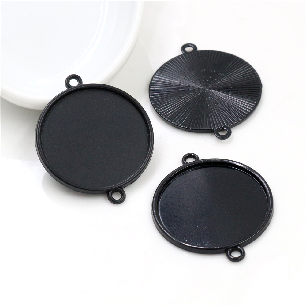 New Fashion 10pcs 25mm Inner Size Black Classical Style Cabochon Base Setting Charms Pendant (A5-16)