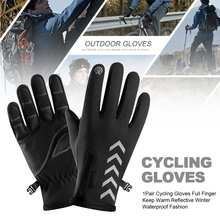 1Pair Anti Slip Keep Warm Solid Windproof Winter Full Finger Cycling Gloves Gift Fashion Bicycle Protection Outdoor Waterproof
