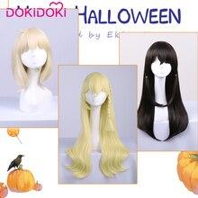 DokiDoki Game/Anime Copslay Wig Touhou Project Bkack Straight Women Hair  Halloween Cosplay Heat Resisitant