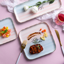 Color Changing Rectangle Ceramic Plate Nordic Square Porcelain Glaze Dinner Pasta Cake Dessert Tray Household Dishes