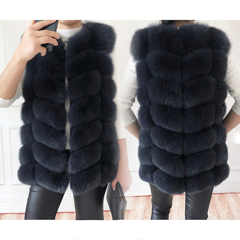 Women 100/% Real Fox Fur Vest Gilet Waistcoat Collar Waist Coat Jacket Warm New