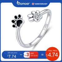 Bamoer prata esterlina 925 preto esmalte pata do cão aberto ajustável anéis de dedo para mulher anti-alergia jóias acessórios scr605