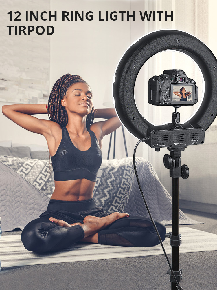 Travor Ring-Lamp Tripod Photography Lighting Youtube Selfie 14inch 5500K with Dimmable