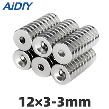AIDIY 10/50/100 pcs 12x3mm Hole 3mm N35 Super strong ring countersunk magnets  permanent neodymium magnet