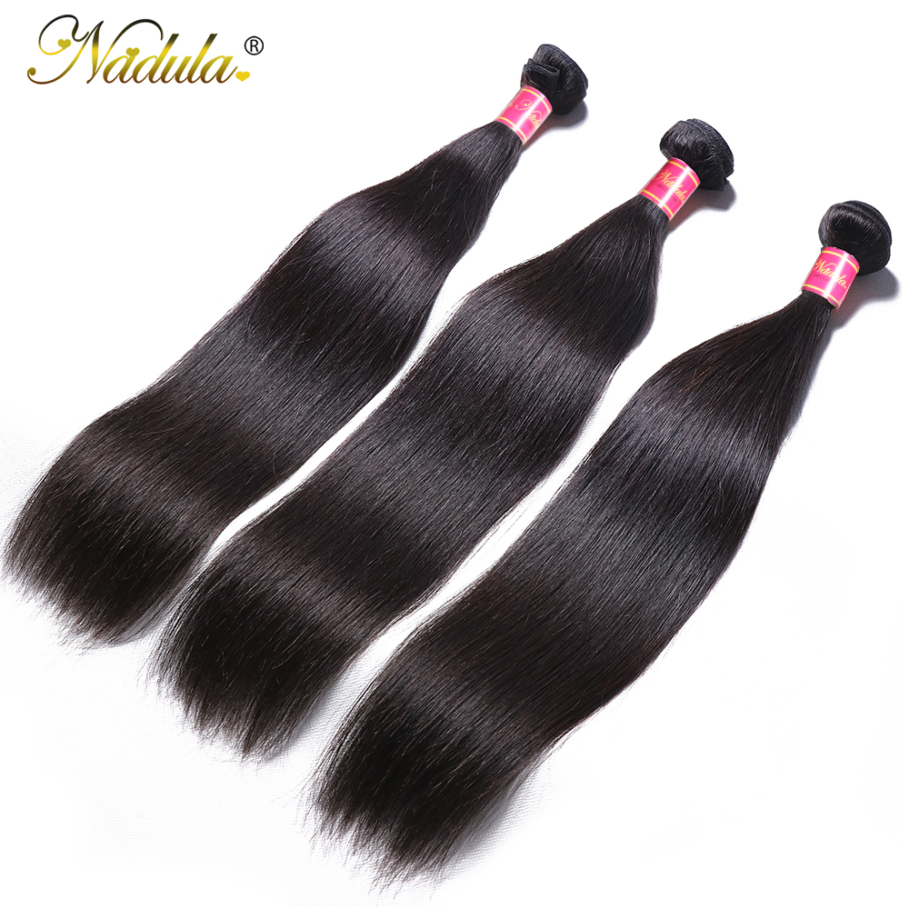 Nadula Hair 3Bundles/4 Bundles Brazilian Straight Hair Bundles 100g/pc Remy Human Hair Extensions Natural Color Hair Weave