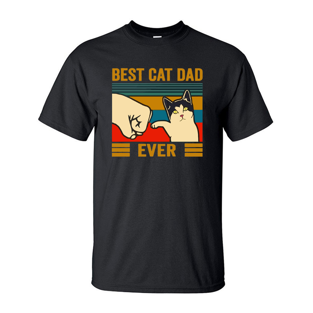 Best Cat Dad Ever Summer Men's T Shirt Cotton Short Sleeve Fashion Cute Streetwear Animal Cats Male Tops Casual Tshirt