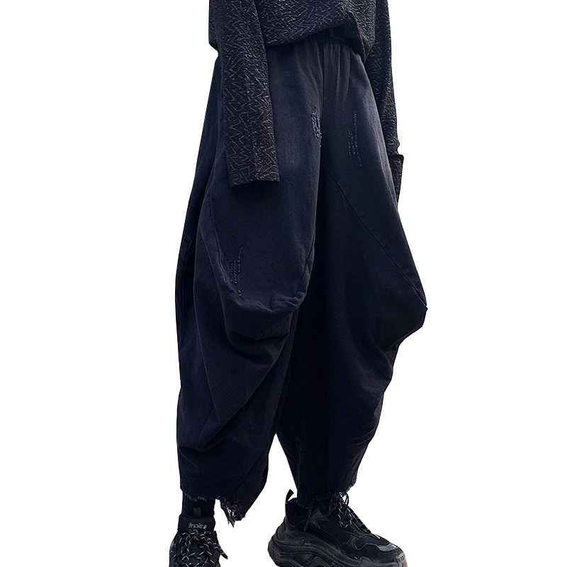Harem Pants Pure-Trousers Singer Male Baggy Men's Summer Loose Costume Wild-Crotch Worn