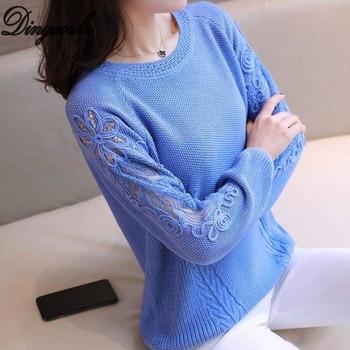 Dingaozlz Pullover suéteres de mujer Otoño Invierno cuello redondo de manga larga de punto camisa Patchwork bordado encaje camisetas