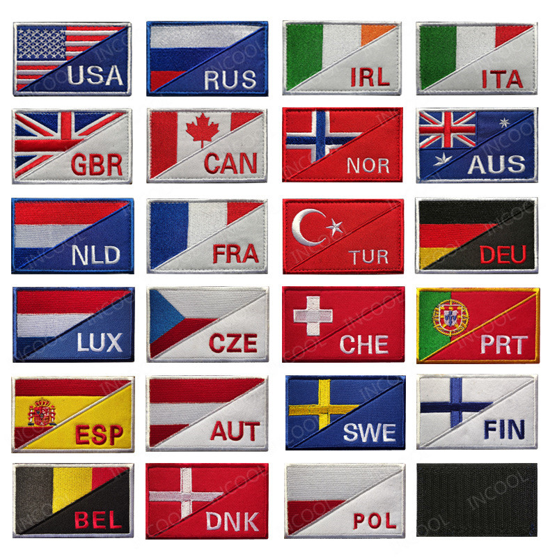 National Flags Embroidered Patches Russia France Germany USA Italy Norway Canada Flag Morale Emblem Appliques Embroidery Badges(China)