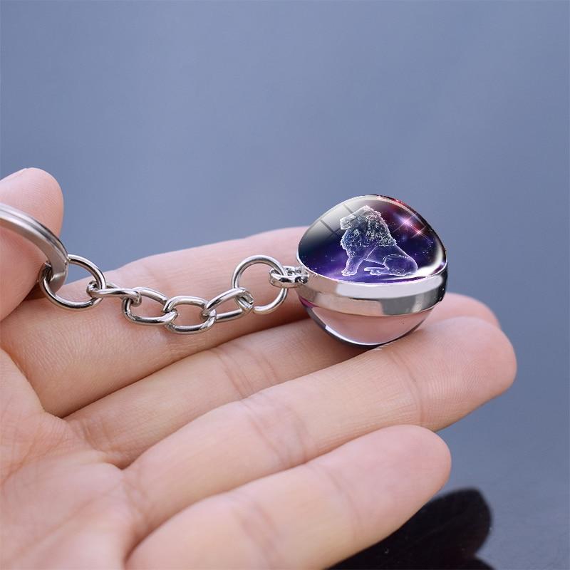 12 takımyıldızı ışıklı anahtarlık cam küre kolye zodyak anahtarlık Glow karanlık anahtarlık tutucu erkekler kadınlar doğum günü hediyesi 3