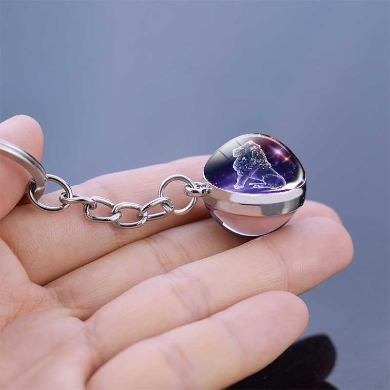 12 كوكبة مضيئة المفاتيح كرة زجاجية قلادة زودياك المفاتيح توهج في الظلام مفتاح سلسلة حامل الرجال النساء هدية عيد ميلاد