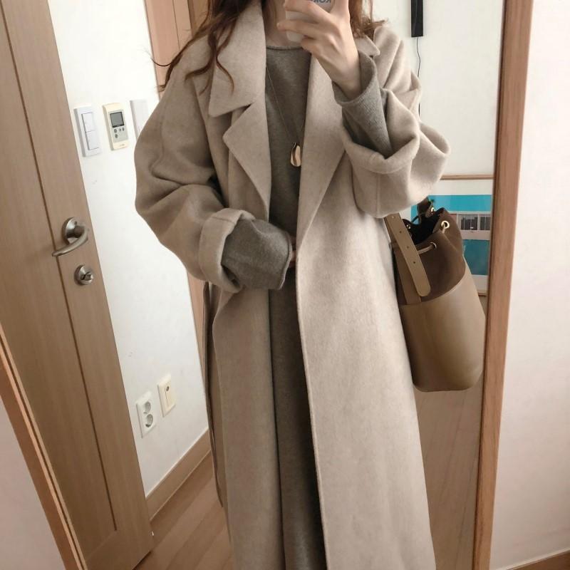 19 Winter Oversize Long Trench Coat Women Cashmere Coat Korean Lady Windbreaker Outwear Streetwear 57