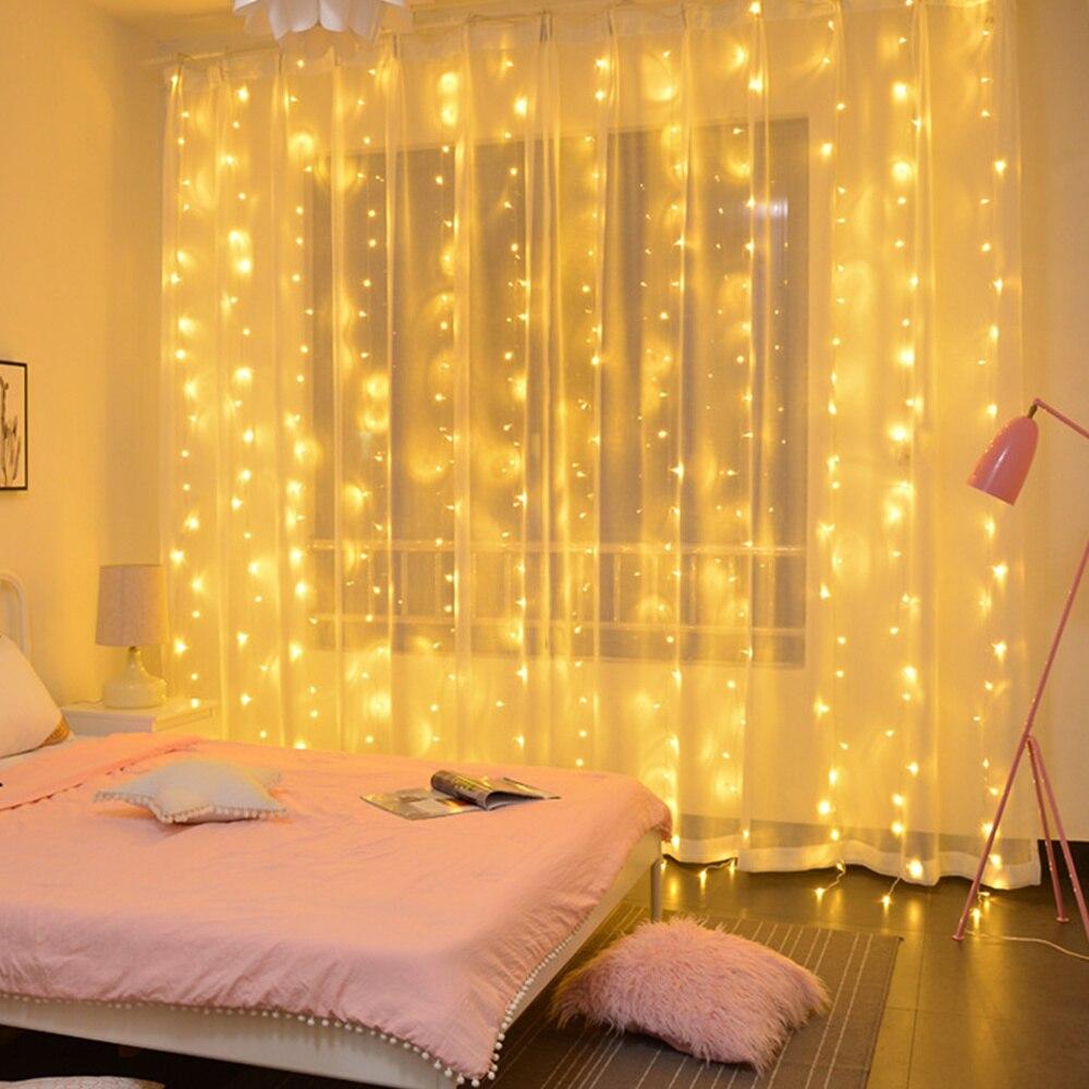 Cortina de guirnalda de luces LED con adornos navideños para el hogar, guirnalda navideña con luces navideñas para San Valentín 2019, regalo ornamental de Navidad