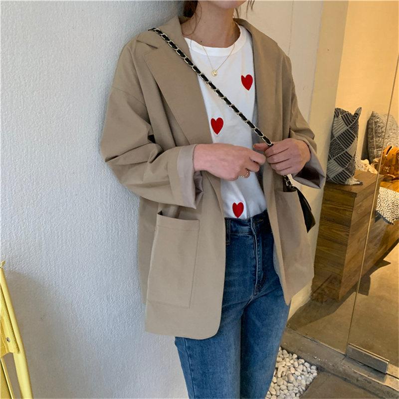 HziriP 2020 OL High Waist Loose All Match Chic Streetwear Stylish Girls Women Casual Vintage Solid Coats Gentle Tops Blazers