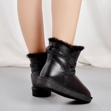 Winter Boots Short Crystal-Strap Ankle Silver Waterproof Women MIYAGINA Lined Shearling