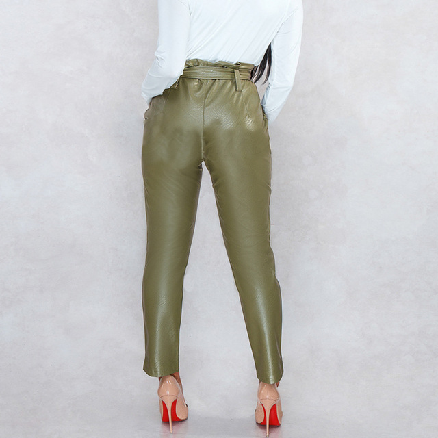 WISH Hot Sale New Ebay AliExpress Explosion Model Europe and America Slim High Waist Bright Leather Pants Feet Pants Spring Wome