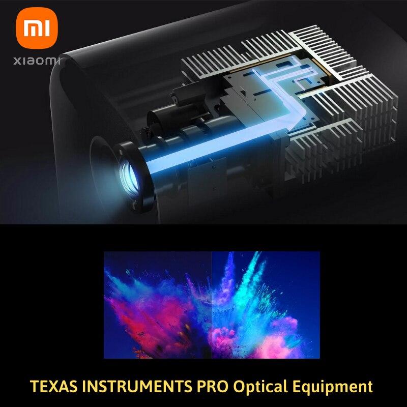 """Versão global xiaomi mijia projetor mini 120 """"hd completo 1080 p dlp 500ans dolby áudio android 9.0 mi conteúdo de tv dhl frete grátis-2"""