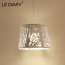 LEDIARY Iron Pendant Lamp White printed Carving Tree Europ Restaurant Dining Living Room Droplights Bar counter Decor Lighting