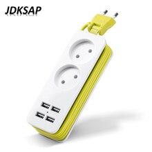 2 Round Plug Power Strip 2 AC Power Socket EU Plug 1200W 250V, 1.5m Cable, Wall Multi-Socket 4 USB Ports For Smart Phones