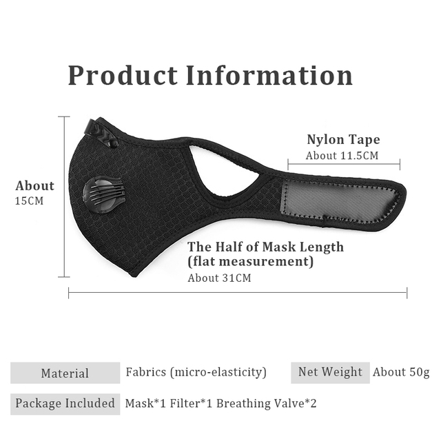Hango Reusable Face Mask Protective PM2.5 Cycling Tactical Sports Mask with Filter Washable Fabric Masks Men Face Cover Shield 5