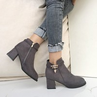 Fashion Rhinestone Ankle Boots For Women Winter Shallow Thick Heels Women Boots Mid Heels Martin Boots Female Zapatos Mujer
