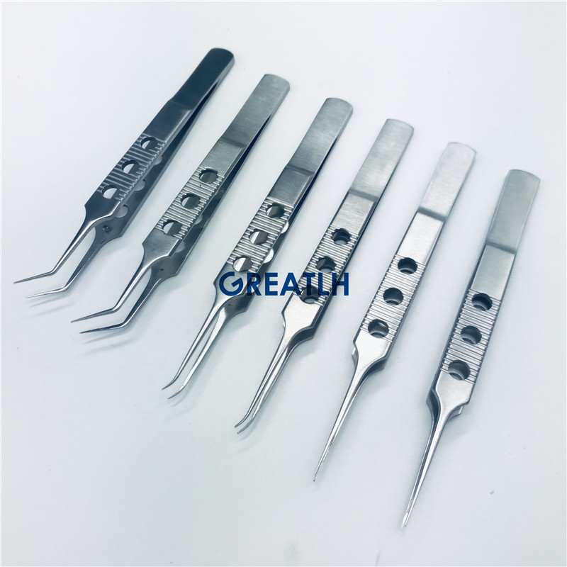 Ophthalmic Micro Tweezers Scissors Strainless Steel Round Handle Ophthalmic Forceps Ophthalmic Surgery Instruments