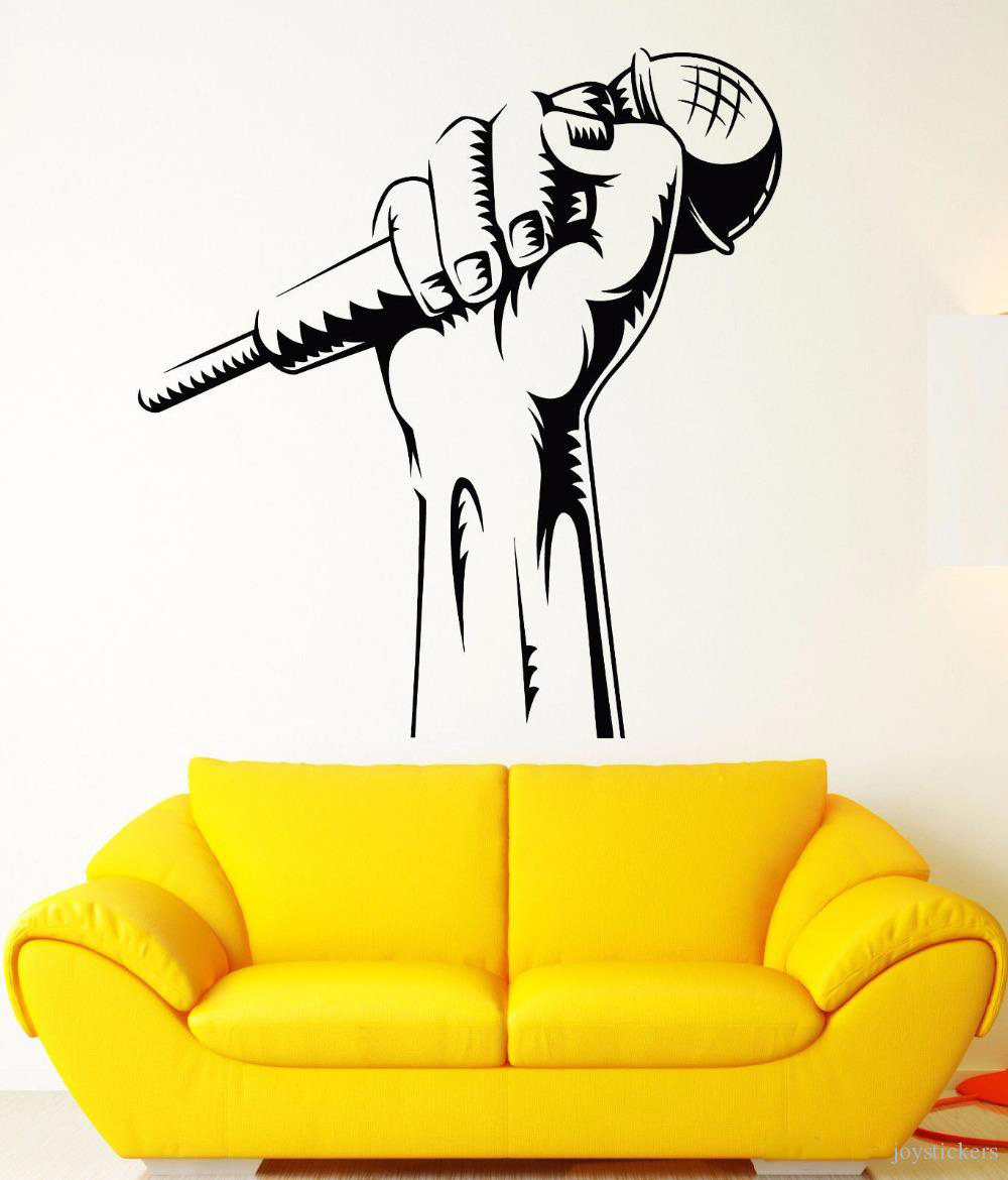Vinyl Wall Decal Microphone Hand Wall Sticker Karaoke Club Decoration Rap Battle Singer Window Art Mural Music Wallpaper joy179(China)