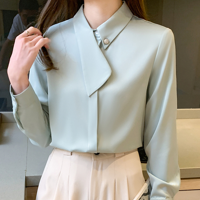 Blouse Women Blusas Mujer De Moda 2021 Long Sleeve Chiffon Blouse Shirt Turn Down Collar Office Blouse Women Tops Blusa E234 1