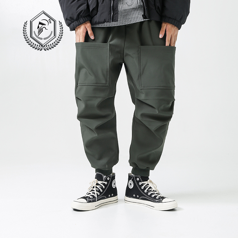 Men Loose Fleece Heavyweight Harem Jogger Pants Fashion Ankle-Length Hip Hop Pants