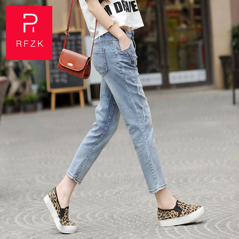 Rfzk 2020 Jeans Women Autumn And Winter New Fashion High-waisted Students Yight Skinny Light-Colored Nine-pointed Pencil Pants