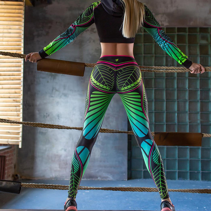 CHRLEISURE Leggins Women Color Geometric Print Fitness Leggings Polyester Ankle-Length Legging Mujer