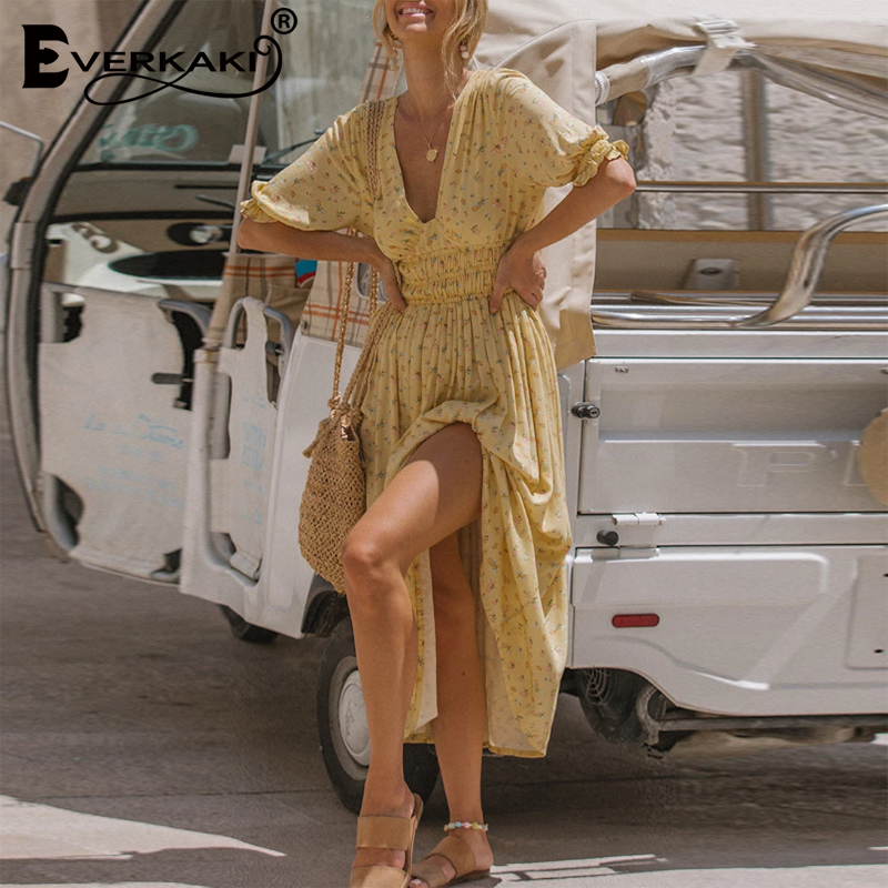 Everkaki Gypsy Floral Print Long Dress Women Summer Vestidos Split Casual Boho Ladies Maxi Dresses Female 2020 Spring New