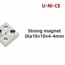 10 pcs of NdFeB fix magnet 10x10x4mm hole 4mm countersunk neodymium block permanent rare earth magnet 10 * 10 * 4-4 4 x 4mm ndfeb neodymium magnet circular cylinder diy puzzle set silver 100 pcs