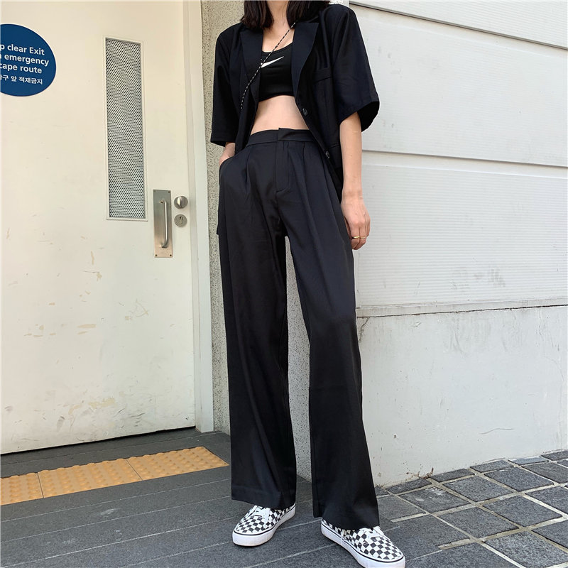 Alien Kitty 2019 Autumn Straight Loose Women High Quality   Wide     Leg     Pants   Casual High Waist Full Length Fashion Solid Trousers