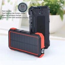 Power Bank 30000mAh QI Wireless Charger Solar For xiaomi TypeC PD+QC3.0 Powerbank Portable Waterproof