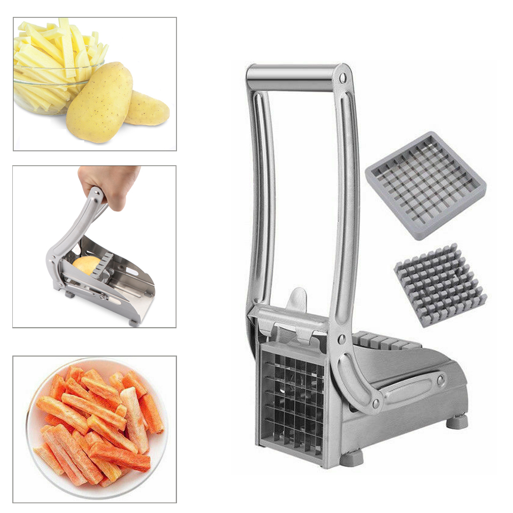 Safe Durable Convenient Stainless Steel French Fry Potato Cutter Slicer Chipper With 2 Blades For Cucumber Vegetables Carrot